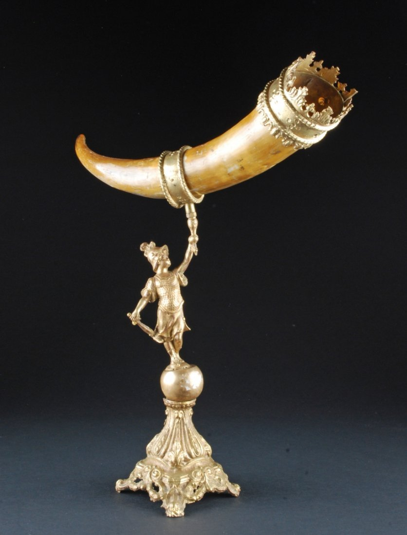 HORN MOUNTED FIGURAL BRONZE. Height 21""