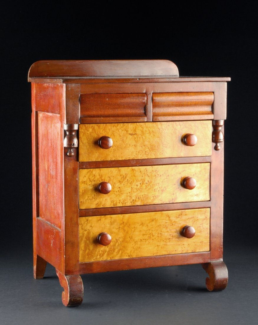 MINIATURE AMERICAN EMPIRE STYLE CHEST, having two short