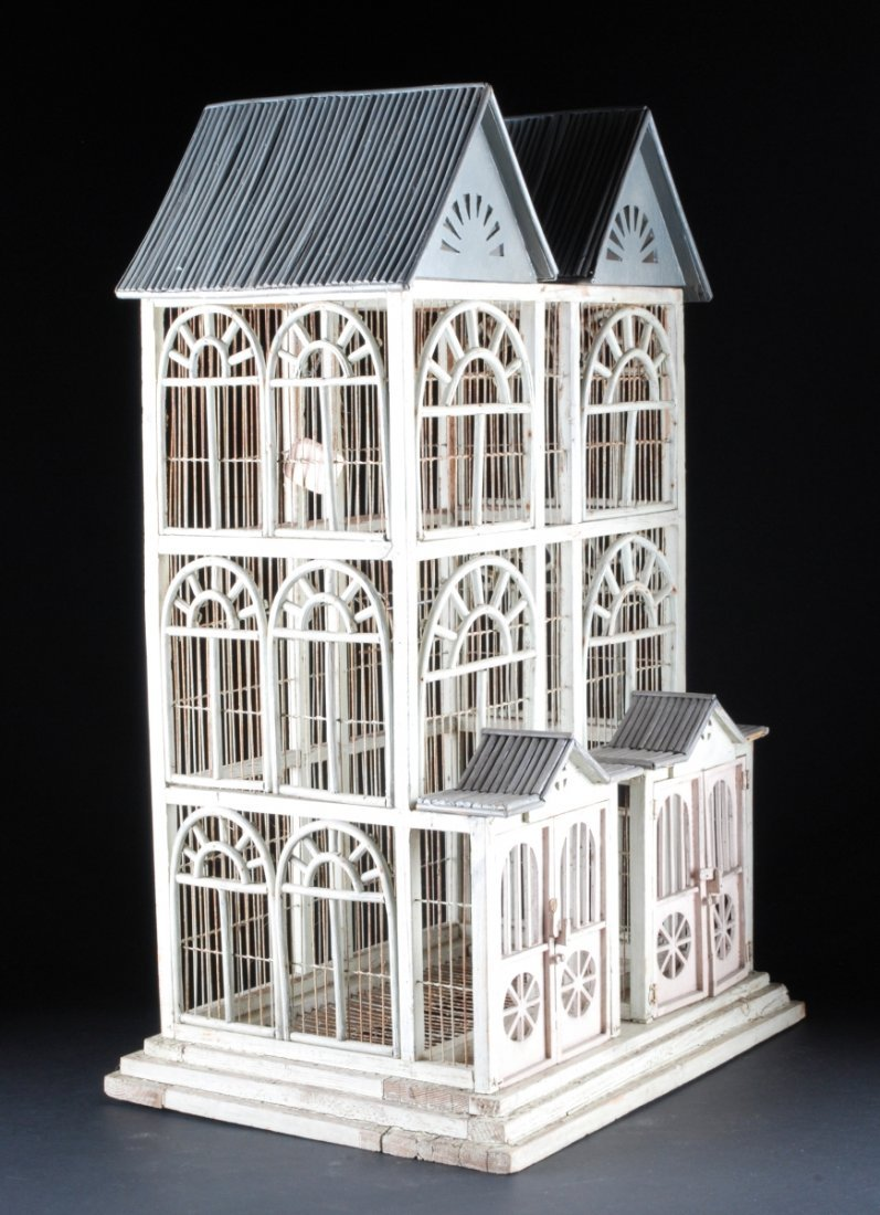 THREE STORY PAINTED WOODEN BIRD CAGE.