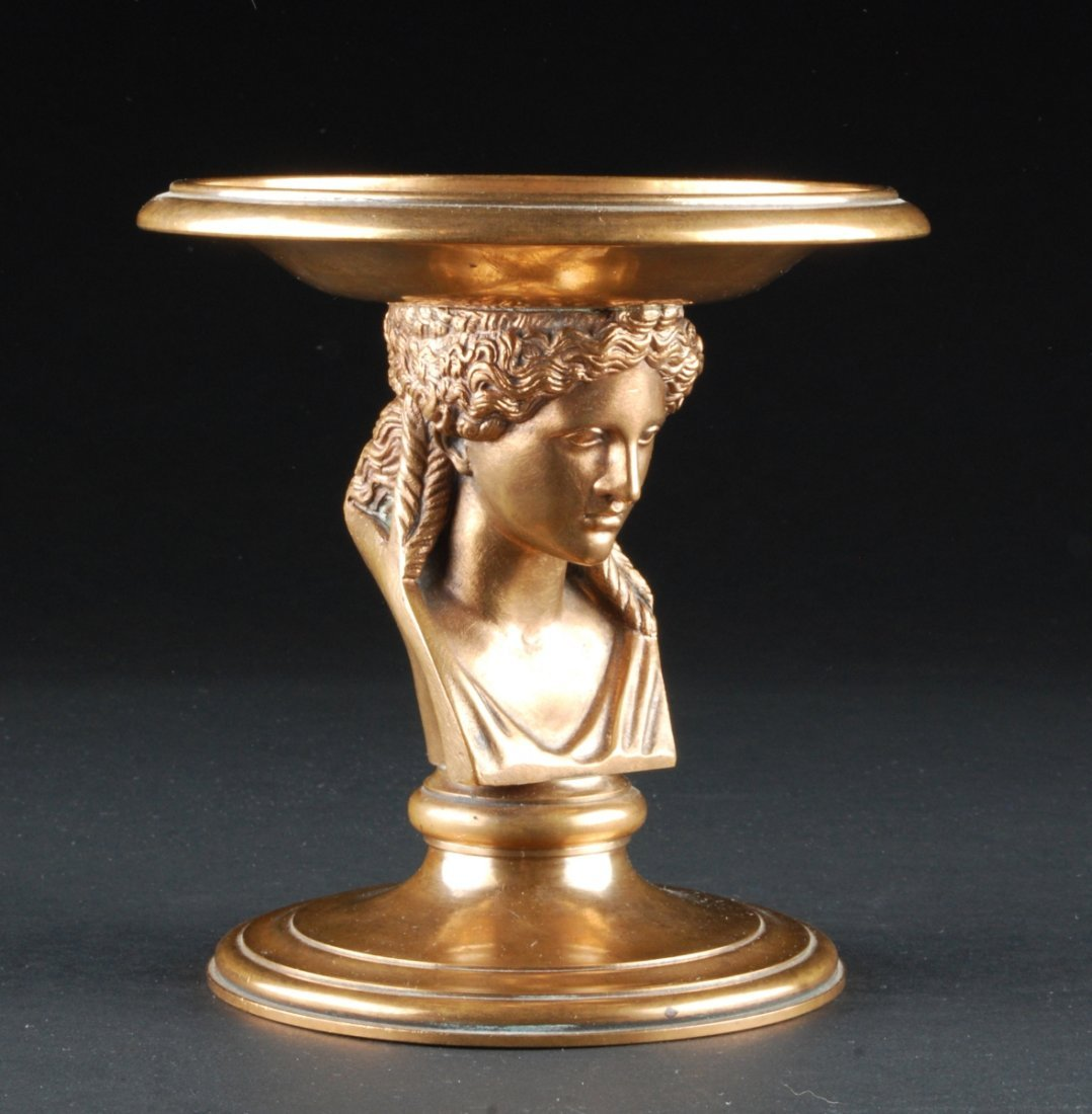 "BRONZE FIGURAL COMPOTE, FRANCE. Stamped ""REDUCTION MECA"