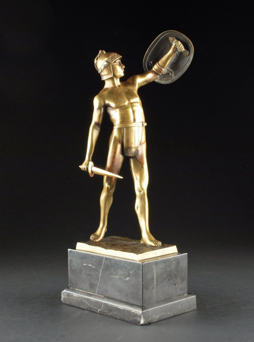 BRONZE FIGURE OF A GLADIATOR, on a marble base. 18 1/2""