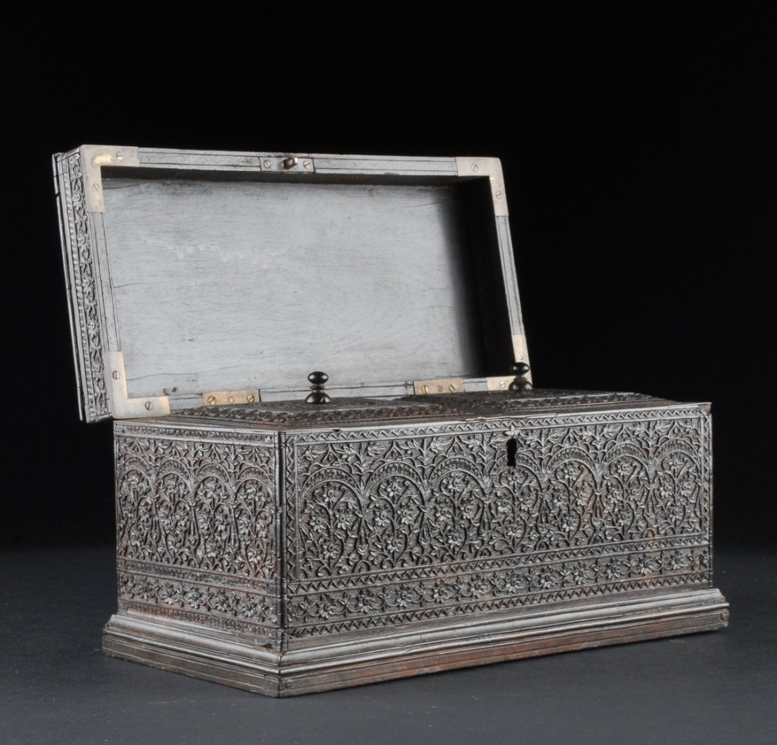 English Tea Caddy, Ornately Carved and Ebonized. Anglo