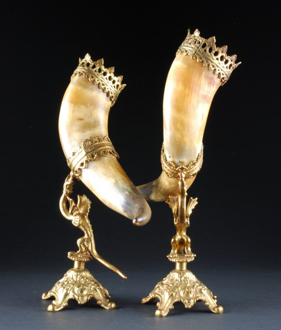 PAIR OF HORNS ON ORNATE MOUNTS, the horn supported by a - 2