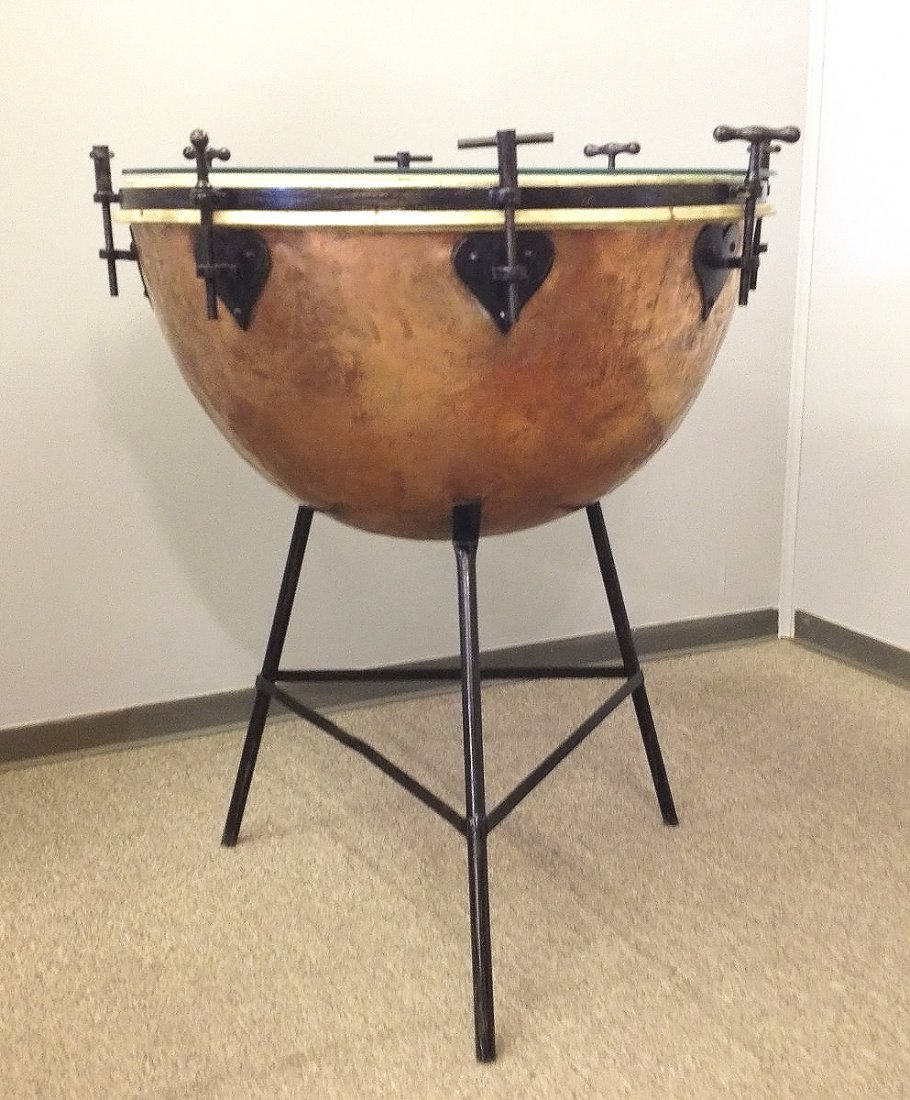 Vintage Copper Orchestra Kettle Drum, with stand and gl
