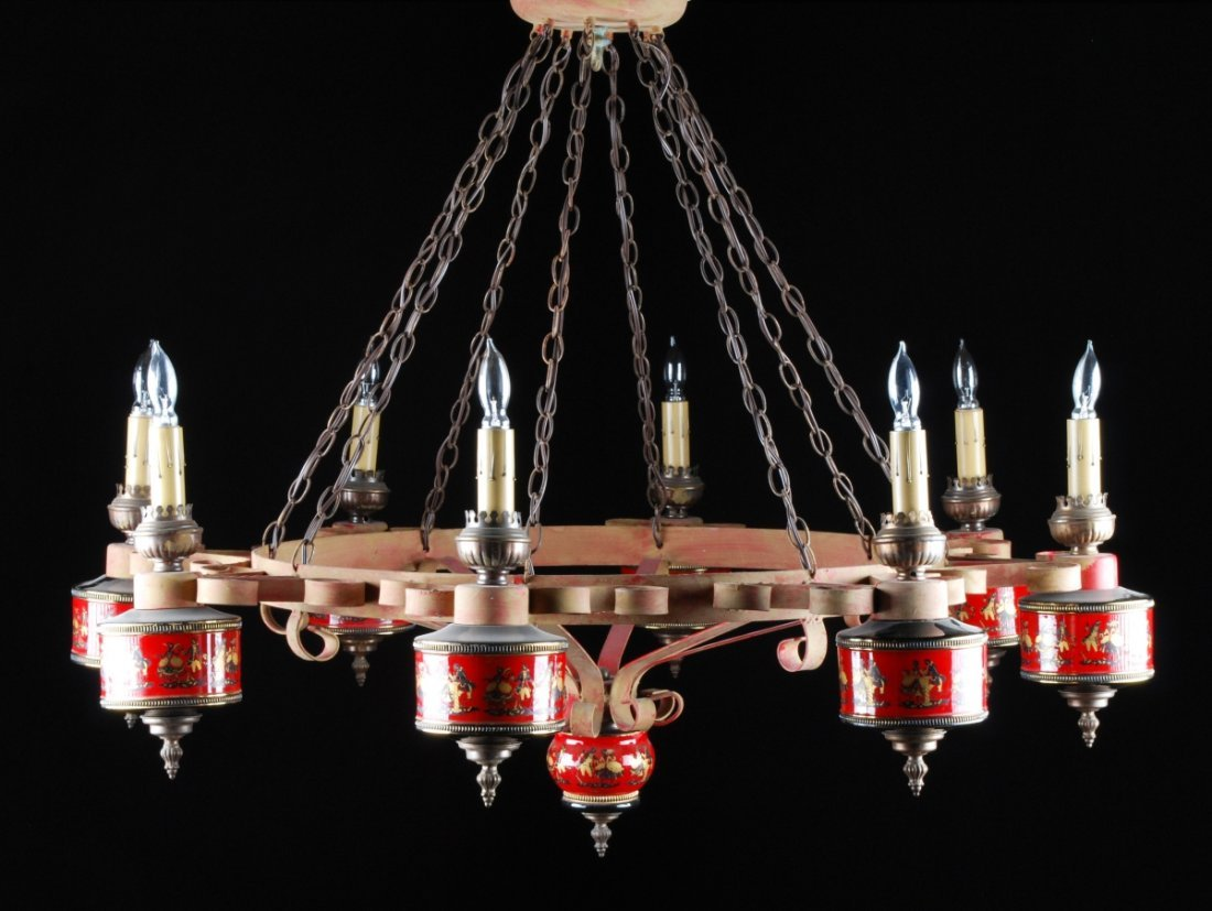 "8 LIGHT  IRON AND POTTERY CHANDELIER. 48"" x 38"""