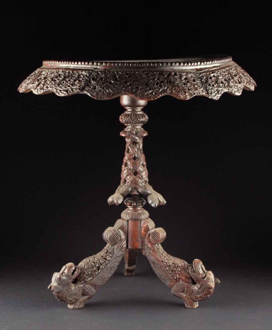 ORNATELY CARVED ANGLO INDIAN TILT TOP TABLE, CIRCA 1880