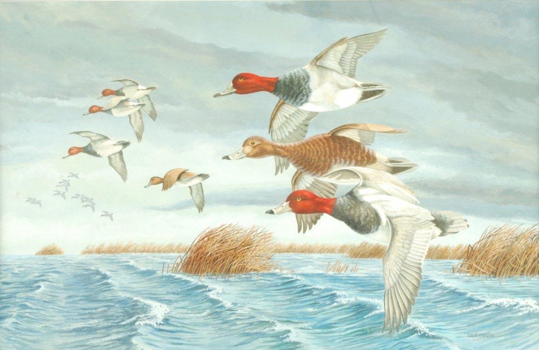 """Cecil Eakins, """"Ducks in Flight,"""" Watercolor. Circa 1900"""