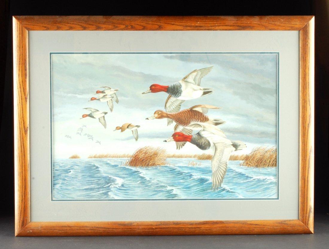 """Cecil Eakins, """"Ducks in Flight,"""" Watercolor. Circa 1900 - 2"""