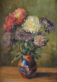 Knud Clemmensen (1870 � 1953) �Chrysanthemums,� Oil on
