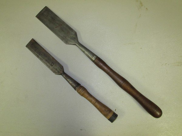 43: 2 Chisels: Lg Chisel, Lathed Handle, Marked- PFG Kr