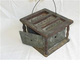 Foot warmer, Tin and Wood, w/Wire Handle