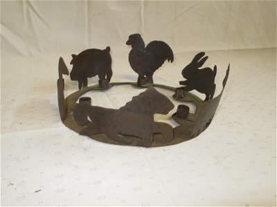 97: Handmade Tin Folk Art Animal Cutout Candle Stand