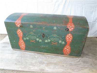 140: 1845 Painted & Decorated Immigrant Trunk; Round To