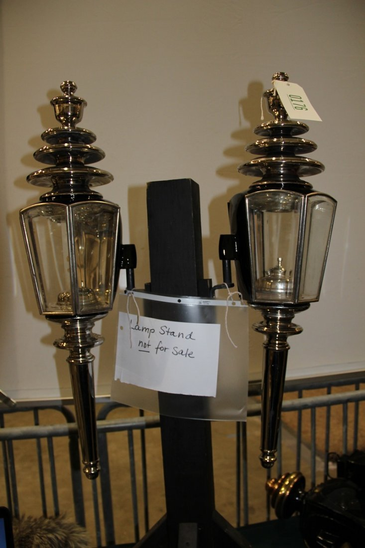 176: Restored Hearse Lamps; Maker: Cunningham