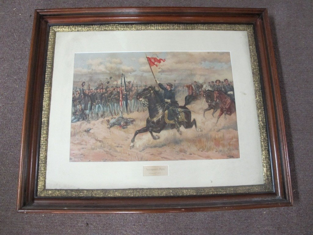 "188:Framed Print ""Sheridan's Ride"" Walnut & Gilt frame"