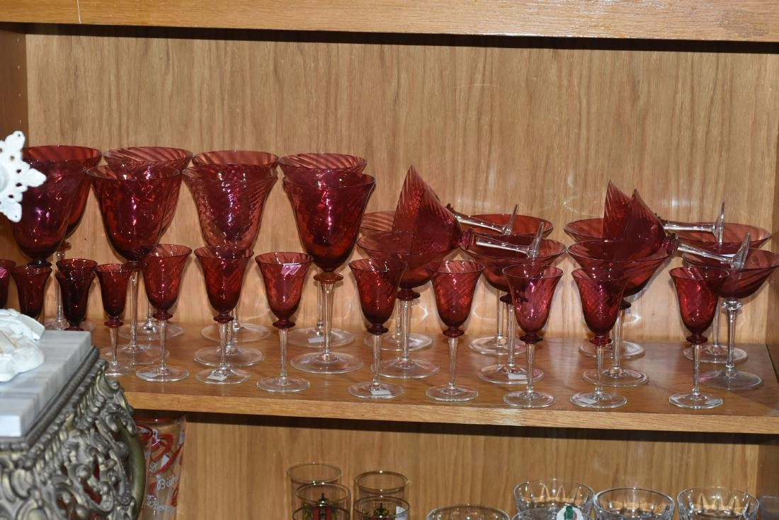 Assorted cranberry stemware
