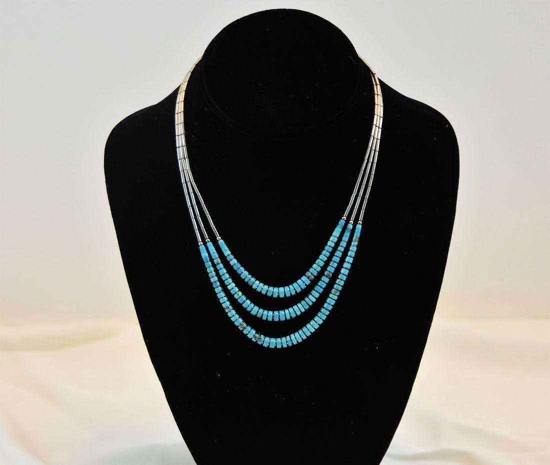 Turquoise Sterling Necklace, Vintage designer jewelry