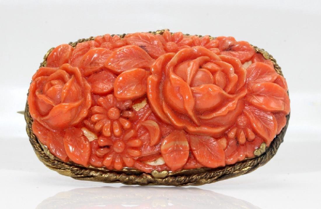 Coral Floral Broch Set