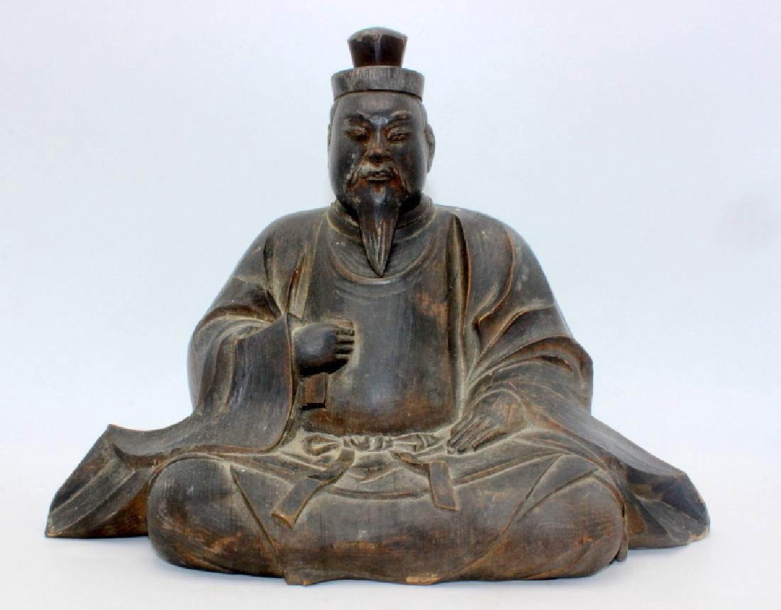 Vintage Chinese wood Carving of Kwan Yin seated Buddha