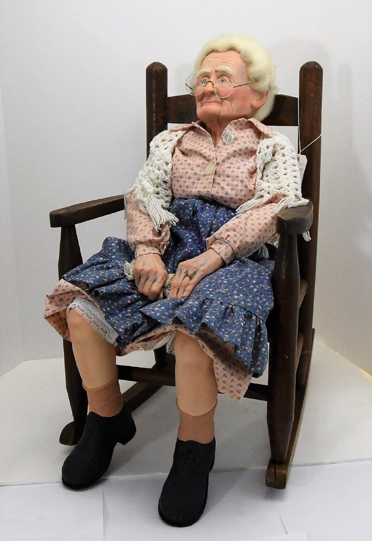 """""""AUNT IDA"""" Antique DOLL AND CHAIR"""