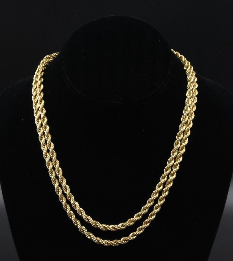 "2.12 OZT Gold 12K gold large rope wive. 35"" long"