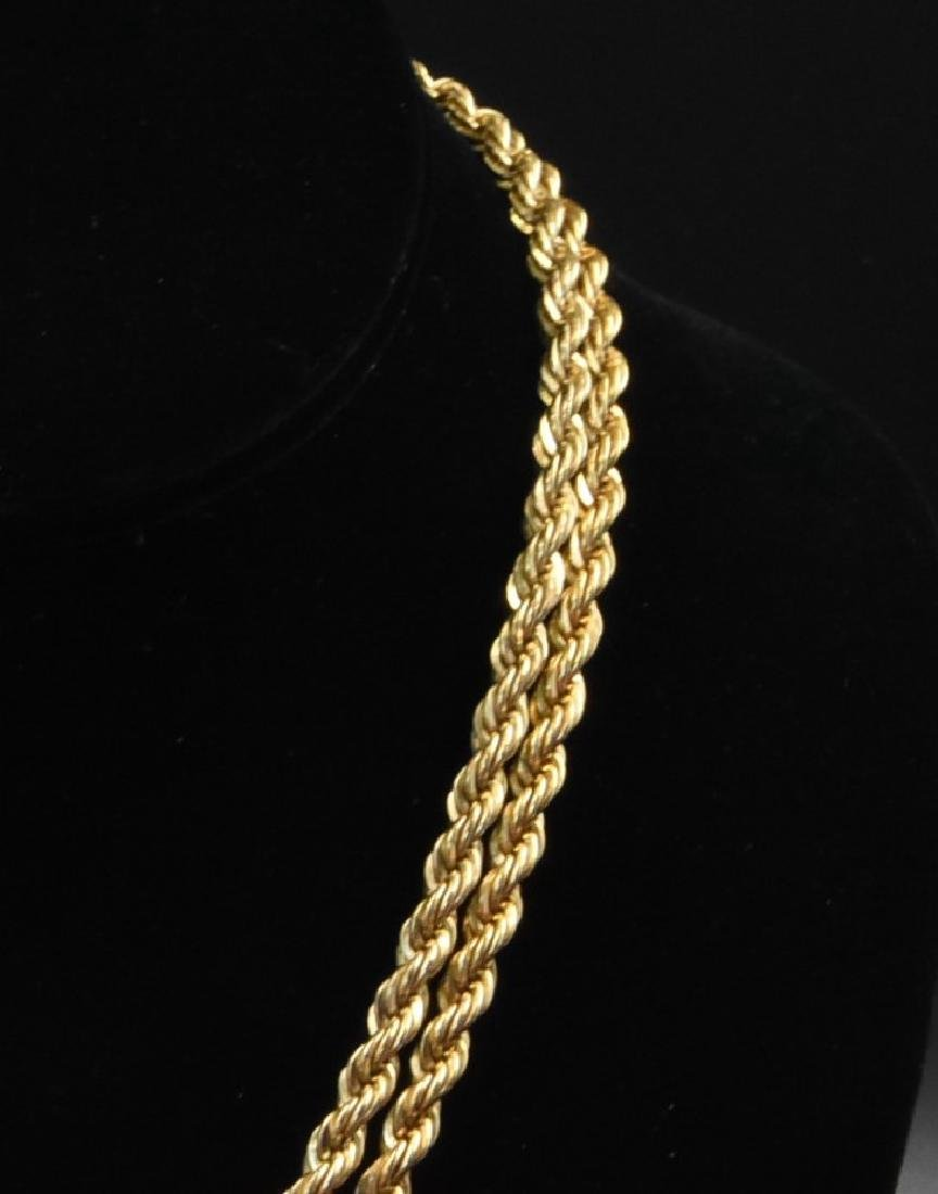 "2.12 OZT Gold 12K gold large rope wive. 35"" long - 3"
