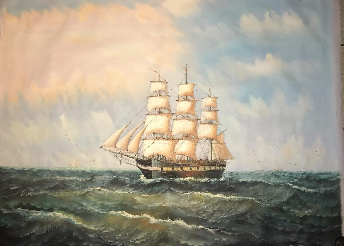 Seascape with 3 ships. Oil on Canvas.
