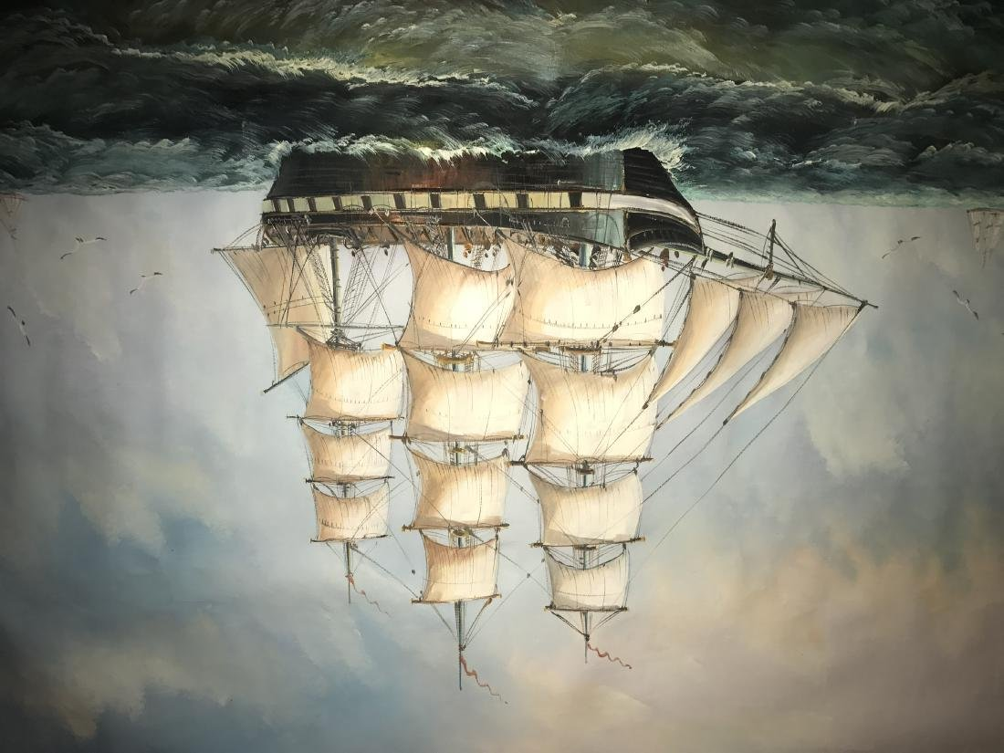 Seascape with 3 ships. Oil on Canvas. - 3
