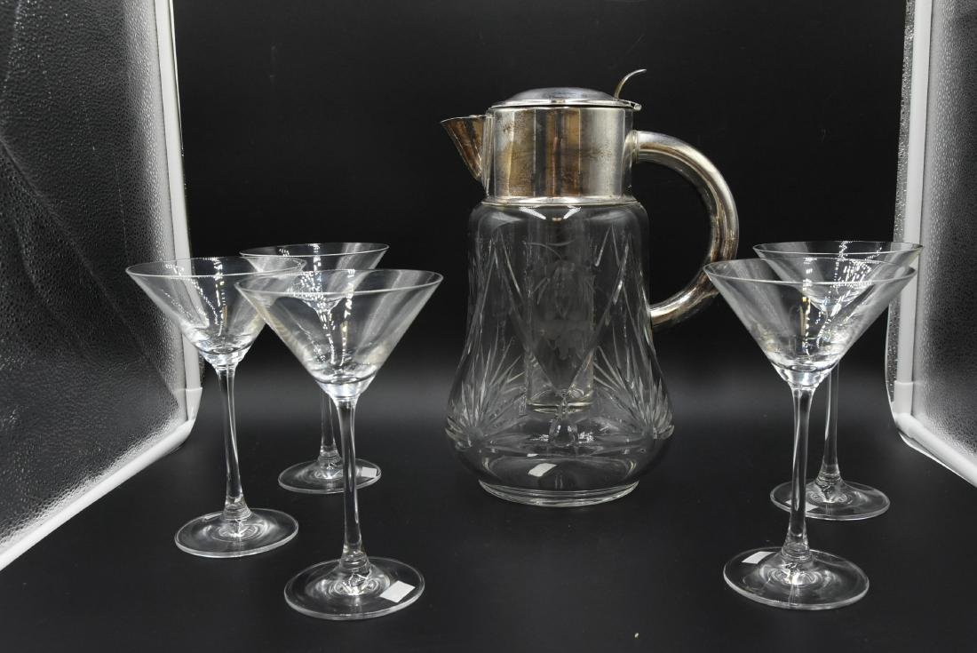 Crystal Martini Pitcher w/ Ice Vial & 5 Glasses