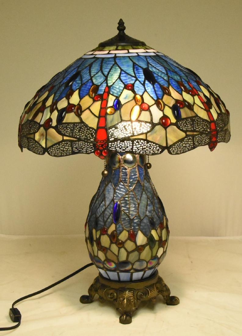 Elegant Tiffany Style Colored Glass Lamp