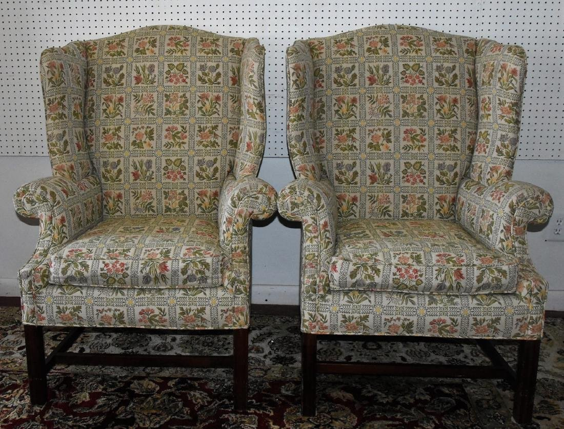 Pair of Upholstered Floral Armchairs