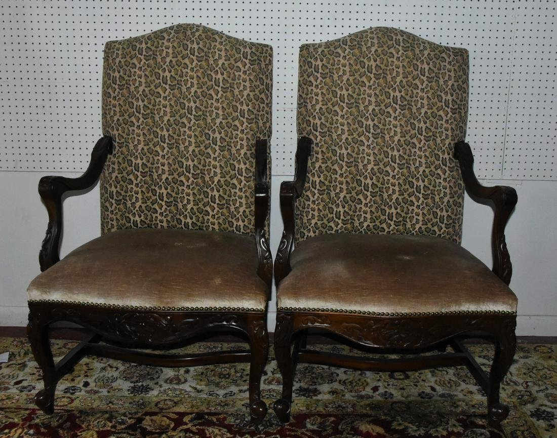 Pair of Upholstered Cheetah Print Armchairs