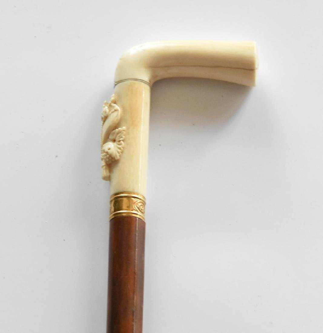 Vintage Carve bone Handle Cane With Gold Ring
