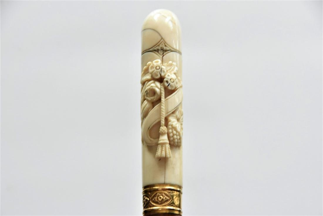 Vintage Carve bone Handle Cane With Gold Ring - 3