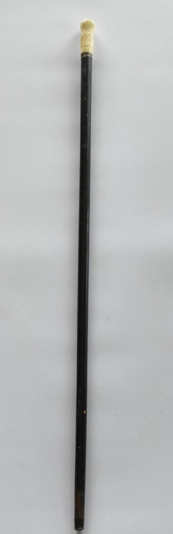 Carved Bone Handle Cane Copper Ring Vintage - 2