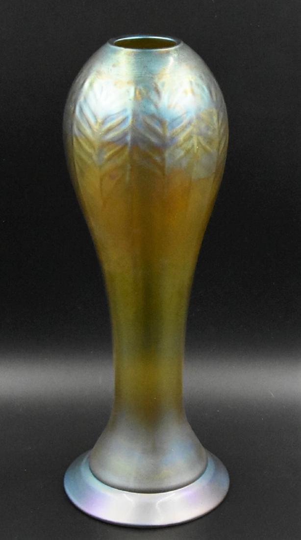Gold Favrile Glass Vase Irridescent