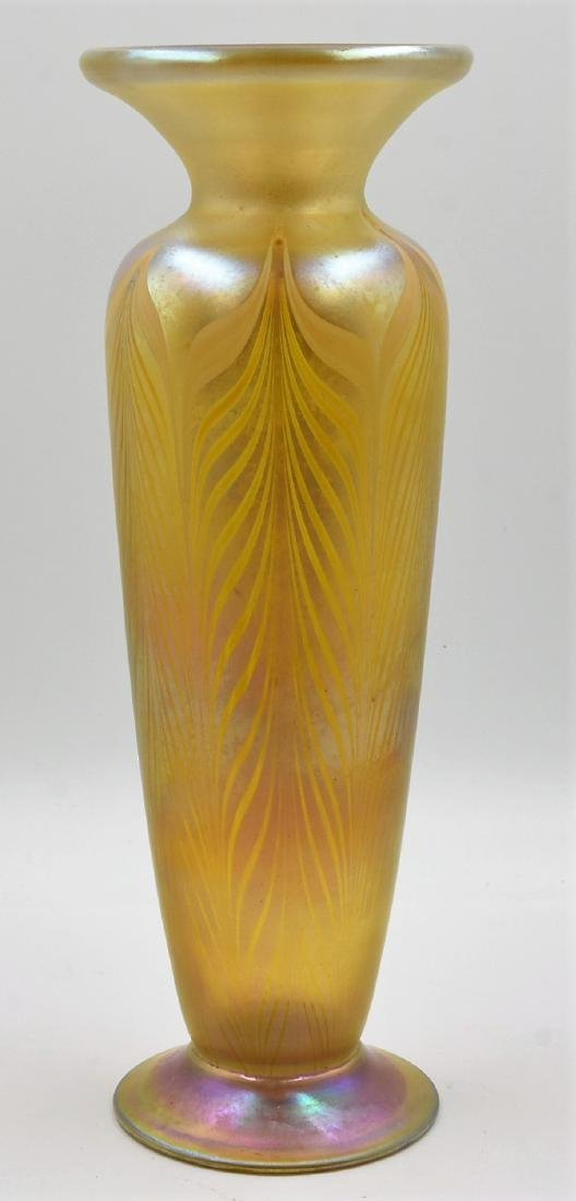 LCT Favrile Vase Feathered Motif Irridescent