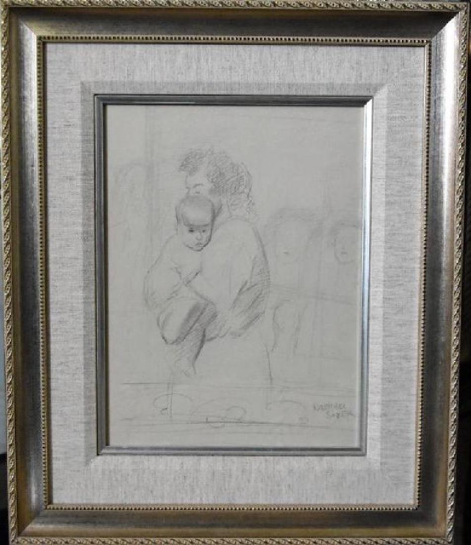 Raphael Soyer, 1899-1967 Original Drawing Hand signed