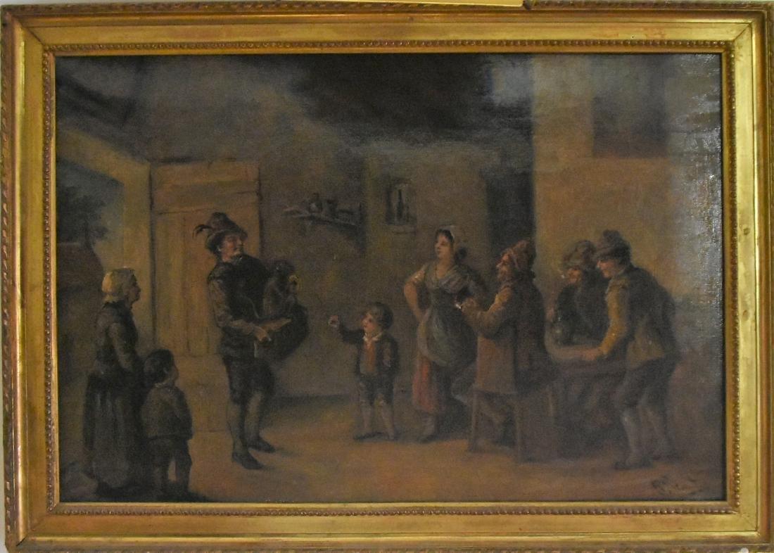 Original Oil on Canvas Montreur De Singes