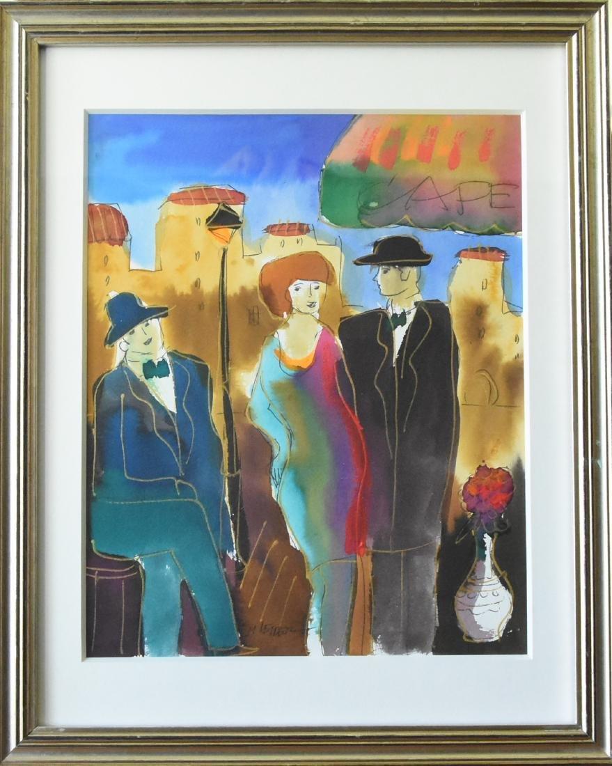 Moshe Leider Original Watercolor CAFÉ