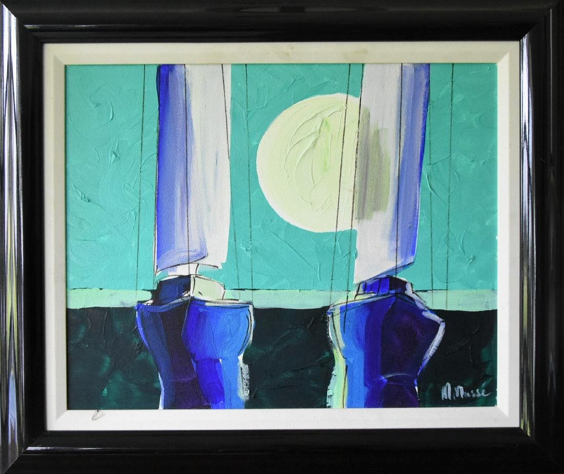 "M. Masse. ""Green Dawn"" Original Acrylic on Canvas"