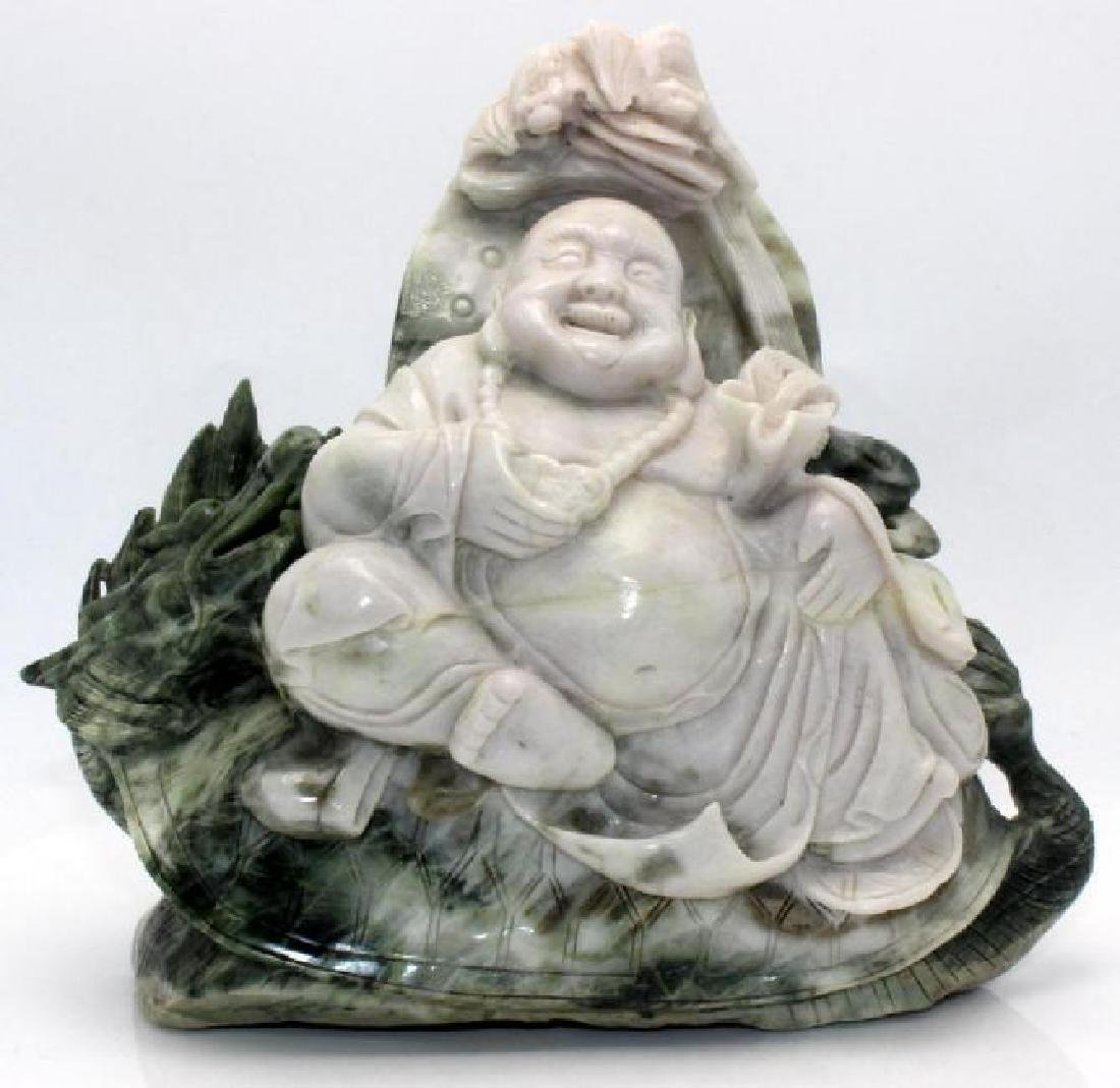 Chinese Jade w/white jade Happy Buddha