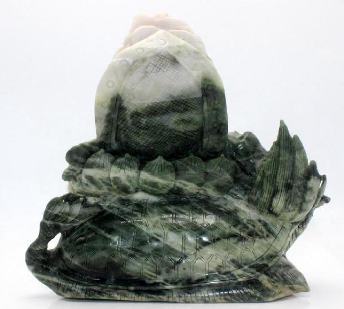 Chinese Jade w/white jade Happy Buddha - 3