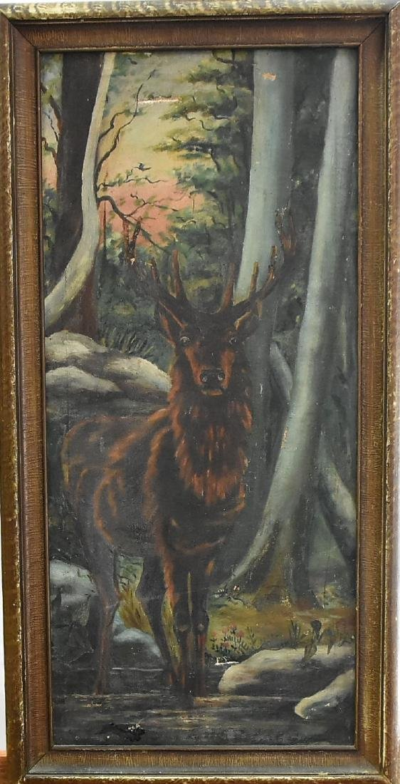 German Black Forest Stag oil on canvas