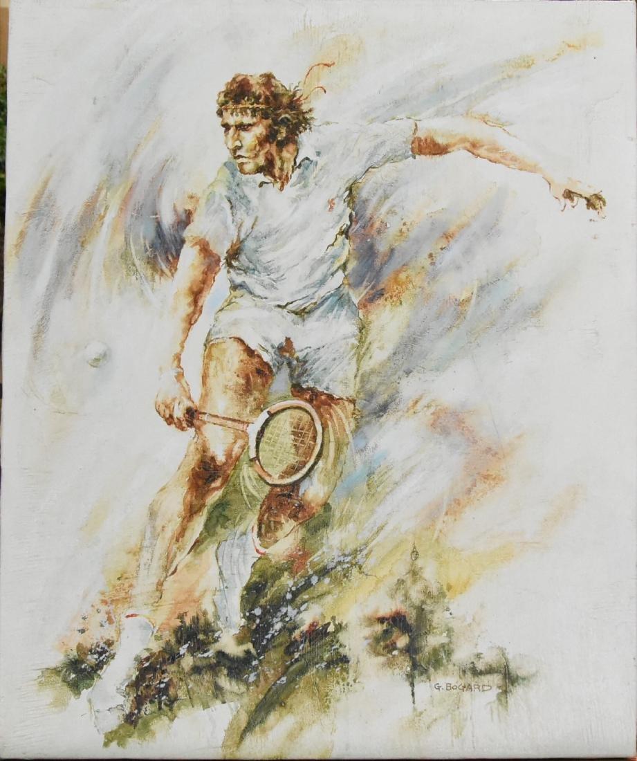 G. Bogard Original Oil on Canvas Tennis Player