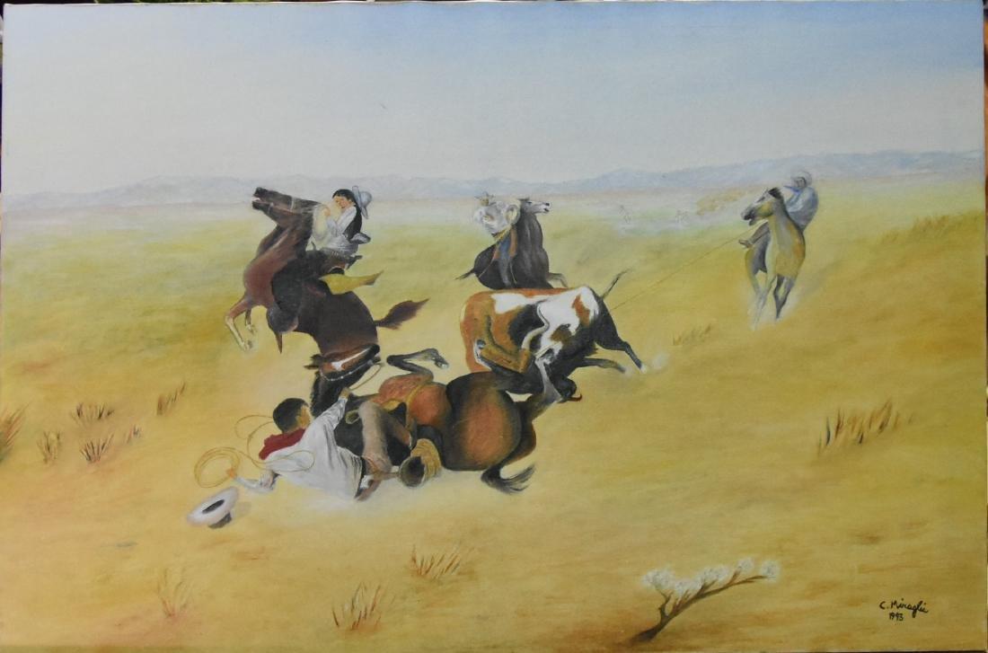 Original C. Miraglia Native American Acrylic on Canvas