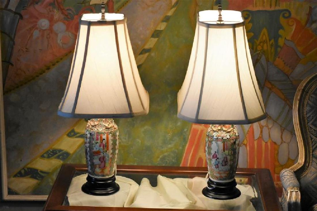Rose Medallion Lamps (2) 1800s