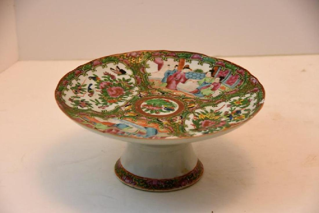 Chinese Rose Medallion Circa Cake Dish 1860s