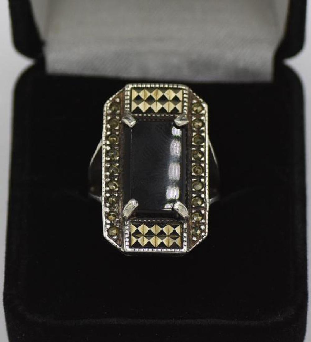 Vintage 925 Silver, Onyx, Marcasite Ring