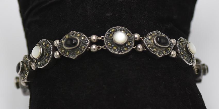 925 silver Marcasite Opal, Onyx Vintage Bracelet